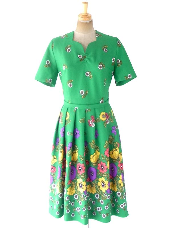 ヨーロッパ古着 ロンドン買い付け 70年代製 グリーン X カラフル レトロ花柄 共布ベルト付き プリーツ ワンピース 20BS010