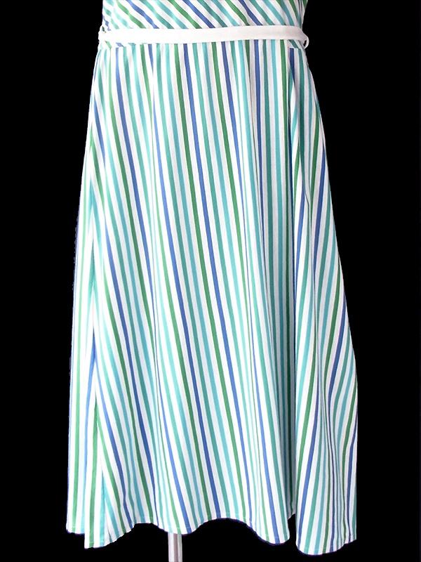 ヨーロッパ古着 ロンドン買い付け 70年代製 ブルー X ホワイト X グリーン ボーダー・ストライプ ベルト付き ワンピース 20BS014