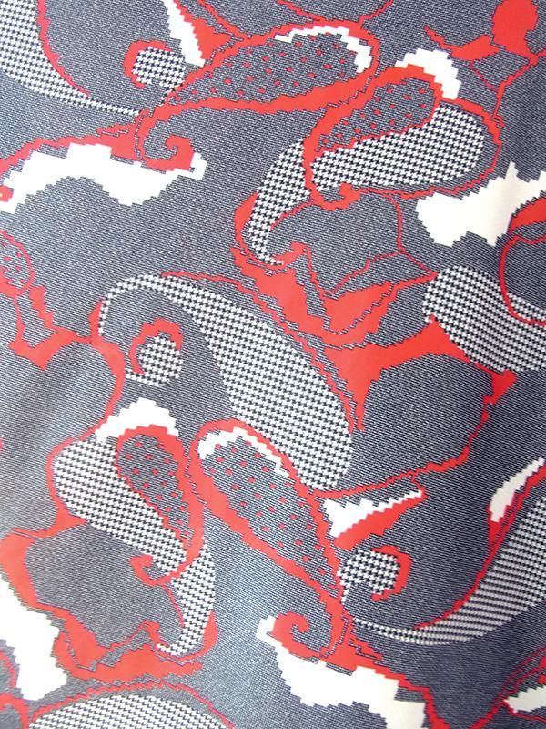 ヨーロッパ古着 ロンドン買い付け グレイ X レッド・ホワイト レトロ柄 フレア ワンピース 20BS023