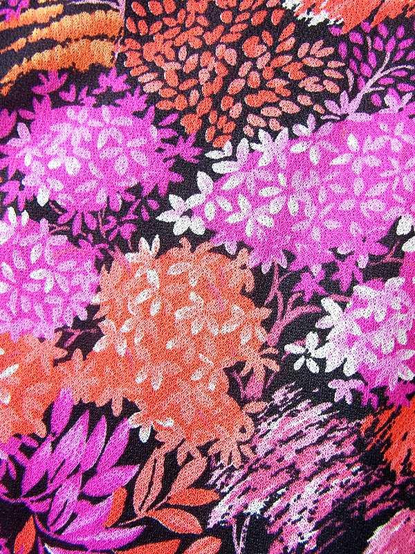 ヨーロッパ古着 ロンドン買い付け 70年代製 オレンジ X パープル 花柄 ベルト付き ワンピース 20BS036