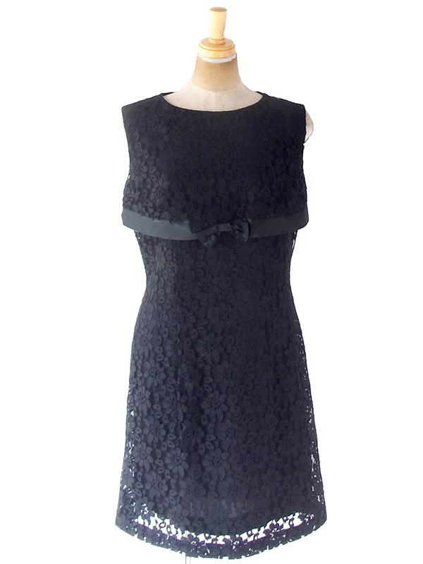 ヨーロッパ古着 ロンドン買い付け ブラック花柄総レース X 大きなリボン ヴィンテージ ドレス 20BS038