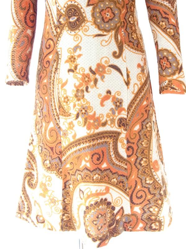 ヨーロッパ古着 ロンドン買い付け 70年代製 アイボリー X オレンジ レトロ柄 ヴィンテージ ワンピース 20BS044