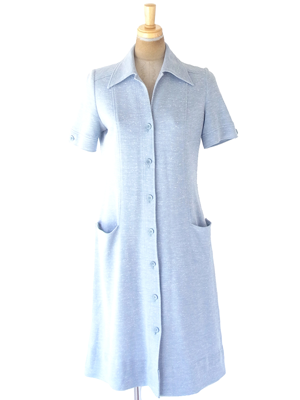 ヨーロッパ古着 60年代フランス製 水色 X シームデザイン ポケット付き レトロ ワンピース 20BS046