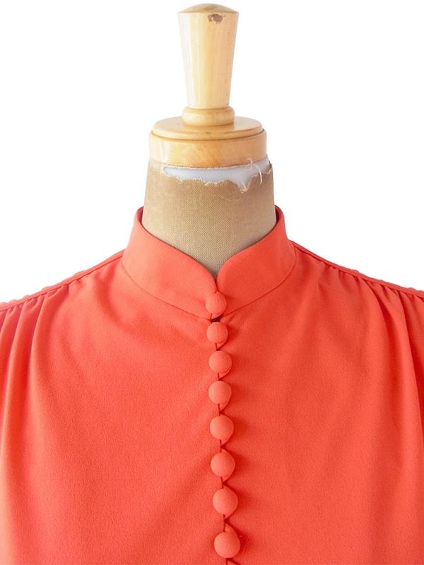 ヨーロッパ古着 ロンドン買い付け 70年代製 朱色 X ロープ風ベルト付き ヴィンテージ ワンピース 20BS047