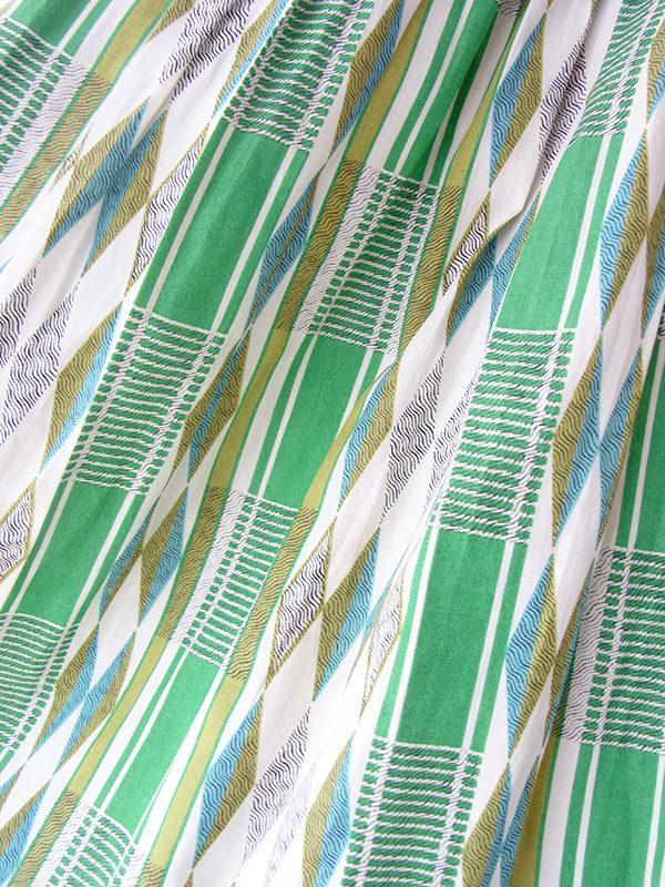ヨーロッパ古着 ロンドン買い付け 50年代製 グリーン X 水色 レトロ柄 ヴィンテージ プリーツ ワンピース 20BS048