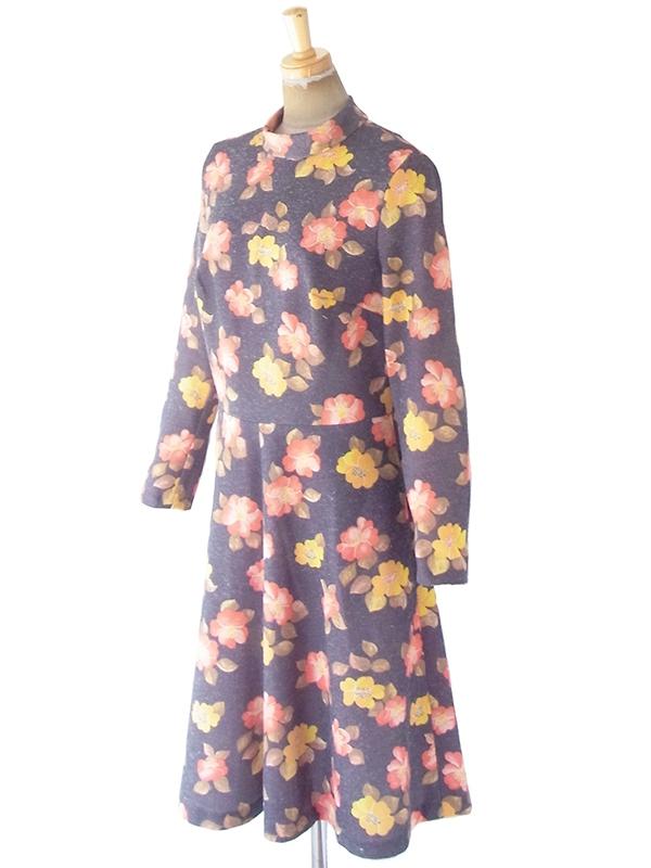 ヨーロッパ古着 ロンドン買い付け 60年代製 グレイ X イエロー ・レッド 花柄 モックネック ヴィンテージ ワンピース 20BS052