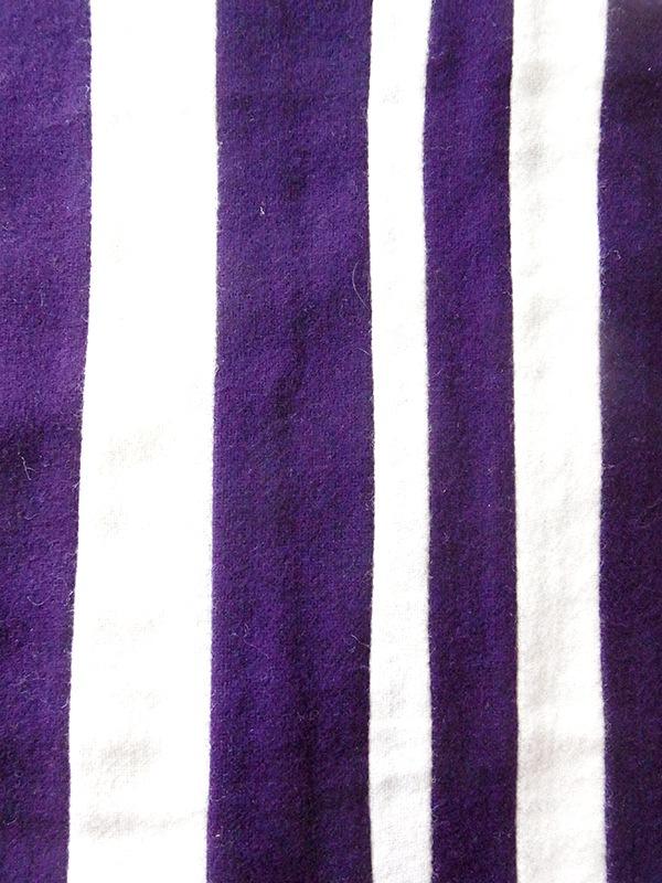 【ヨーロッパ古着】ロンドン買い付け パープル X ホワイト ストライプ ウール スクール マフラー 20BS061【おとなかわいい】