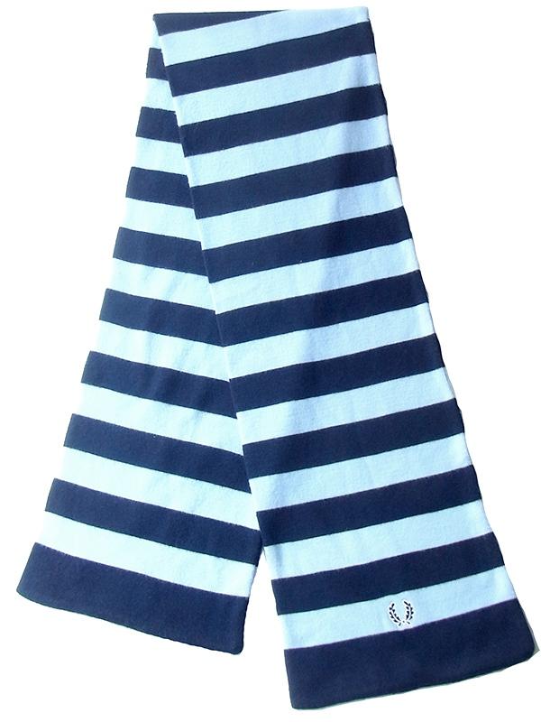 【ヨーロッパ古着】ロンドン買い付け FRED PERRY  ネイビー X 水色 ボーダー ウール マフラー 20BS062【おとなかわいい】