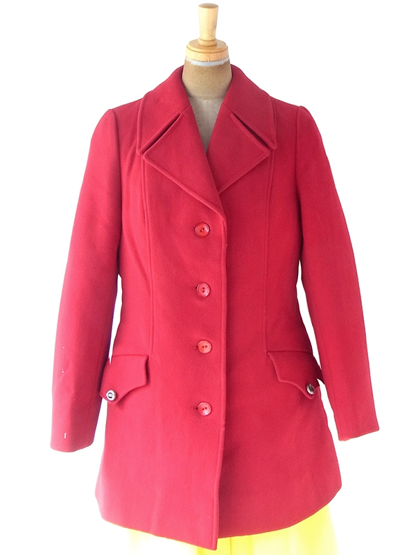 ヨーロッパ古着 ロンドン買い付け 60年代製 レッド ヴィンテージ ウール コート 20BS102
