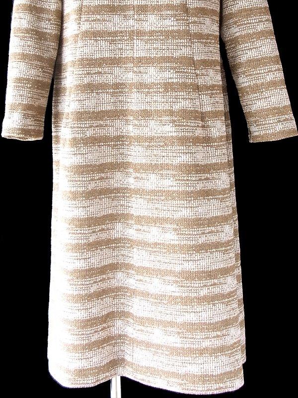 ヨーロッパ古着 ロンドン買付け 70年代製 ゴールドラメ 糸織 ボーダー ヴィンテージ ワンピース 20BS105