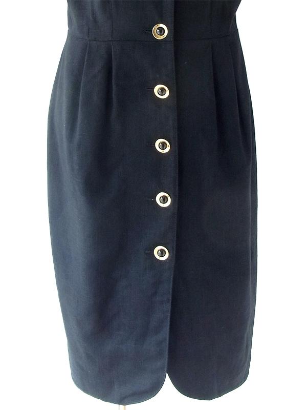 ヨーロッパ古着 ロンドン買い付け 70年代製 ブラック X ゴールド ボタン ヴィンテージ ドレス 20BS108