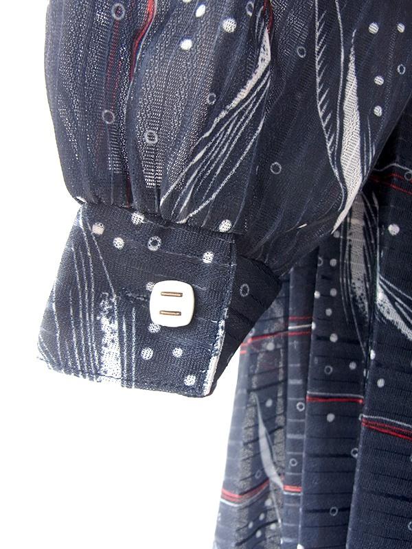 ヨーロッパ古着 ロンドン買い付け 70年代製 ネイビー X レッド 共布ベルト付き ボウタイ プリーツ ワンピース 20BS111