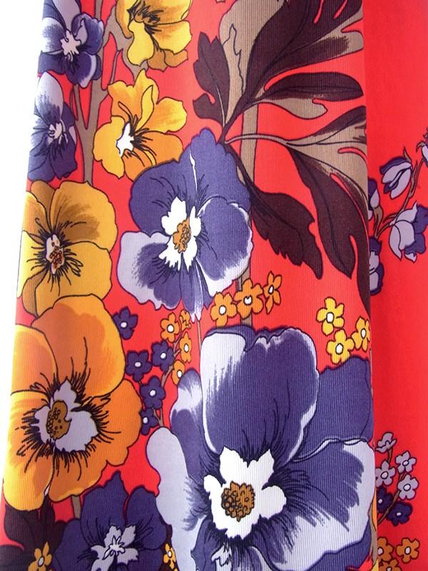 ヨーロッパ古着 ロンドン買い付け 70年代製 レッド X カラフル花柄 ヴィンテージ マキシワンピース 20BS119