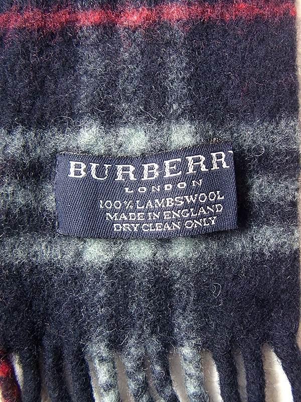 イギリス製 BURBERRY バーバリー X ネイビー・水色・レッド チェック柄 ウール マフラー 20BS128