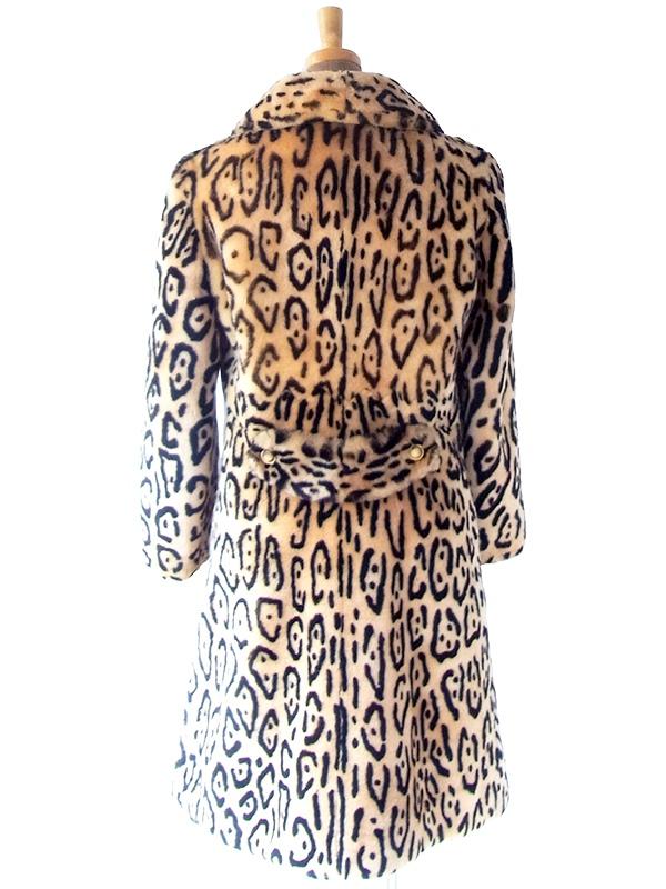 ヨーロッパ古着 ロンドン買い付け 70年代製 レオパード柄 フェイクファー 厚手 コート 20BS205