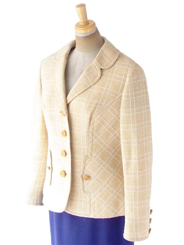 ヨーロッパ古着 ロンドン買い付け 60年代製 ライトベージュ X ホワイト 格子柄 ステッチ ヴィンテージ ジャケット 20BS207