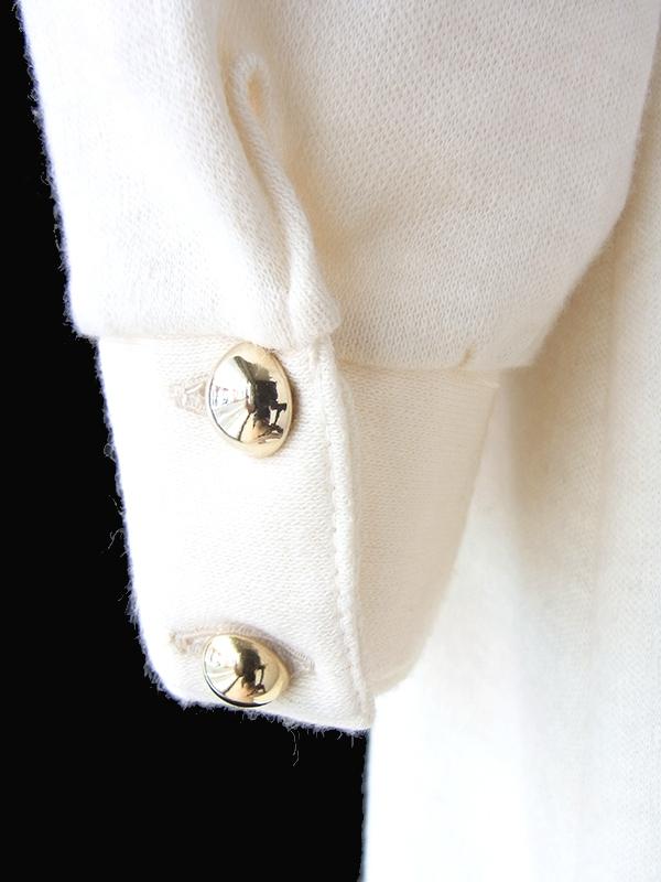 ヨーロッパ古着 ロンドン買い付け 70年代製 アイボリー X ゴールドステッチ 肩ボタン留め ウール混 ワンピース 20BS212