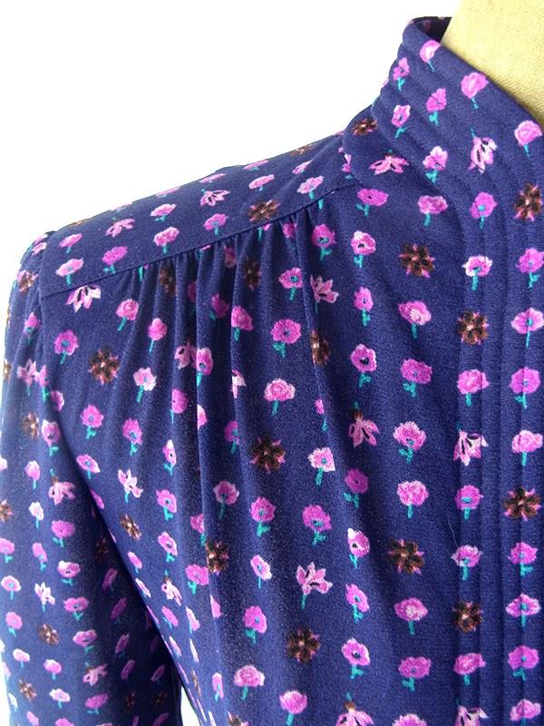 ヨーロッパ古着 ロンドン買い付け 70年代製 ネイビー X パープル 花柄 ヴィンテージ ロング丈 ワンピース 20BS219