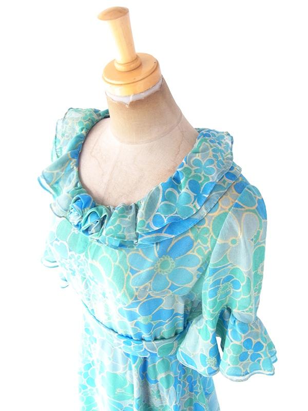 ヨーロッパ古着 ロンドン買い付け 60年代製 水色 X 花柄 共布ベルト付き フリル・花飾り ヴィンテージ ワンピース 20FC007