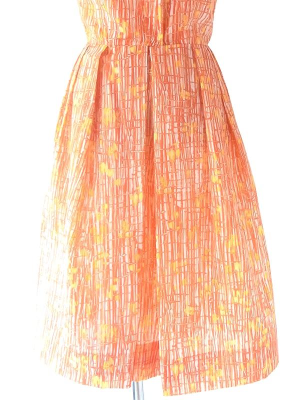 ヨーロッパ古着 フランス買い付け 60年代製 オレンジ X レッド レトロ柄 ボウタイ プリーツ ワンピース 20FC010