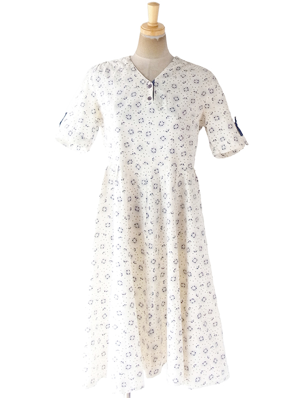 ヨーロッパ古着 ロンドン買い付け 60年代製 オフホワイト X パープル 花柄・ドット ヴィンテージ ワンピース 20FC011