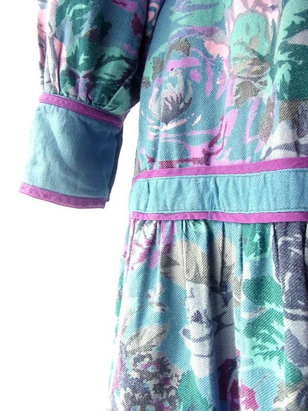 【送料無料】フランス買い付け 60年代製 シアンブルー X パープルライニング 花柄 生地切替し ワンピース 20FC013【ヨーロッパ古着】
