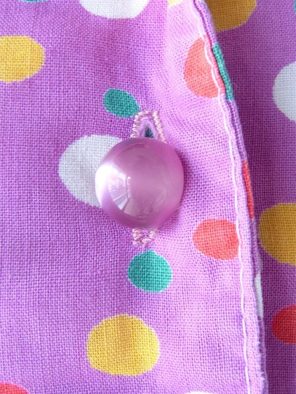 ヨーロッパ古着 フランス買い付け 60年代製 パープル X カラフル 水玉 固定共布ベルト付き ワンピース 20FC015