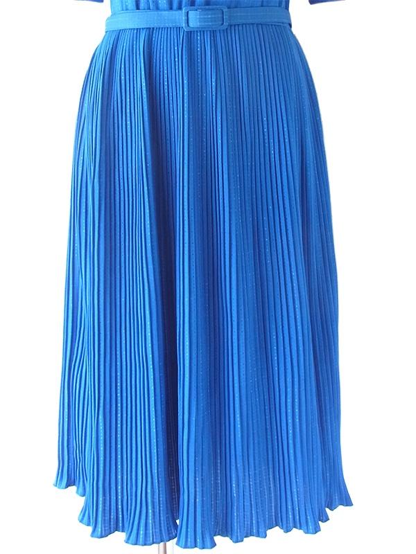 ヨーロッパ古着 70年代フランス製 ロイヤルブルー ブルーのラメがキラキラ光る ベルト付き プリーツ ワンピース 20FC104