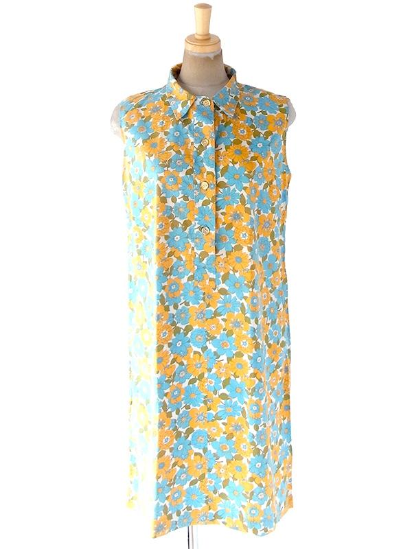 ヨーロッパ古着 フランス買い付け 60年代製 オレンジ・ターコイズブルー・グリーン 花柄 ヴィンテージ ワンピース 20FC105
