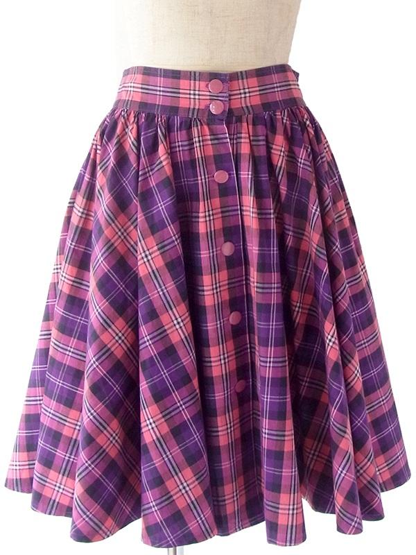 ヨーロッパ古着 フランス買い付け 60年代製 ピンク X パープル タータンチェック たっぷりギャザー 前開き スカート 20FC117