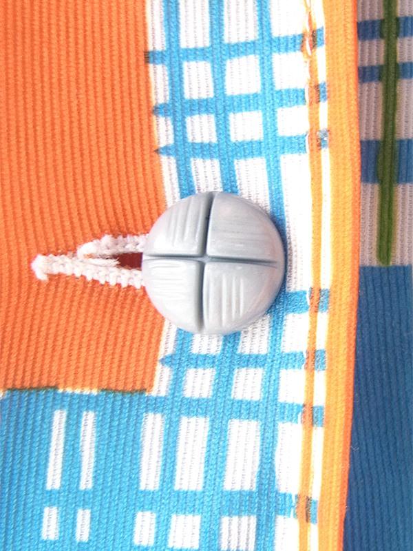 ヨーロッパ古着 フランス買い付け 70年代製 ホワイト X オレンジ・水色・グリーン チェック・スクエア柄 ワンピース 20FC200
