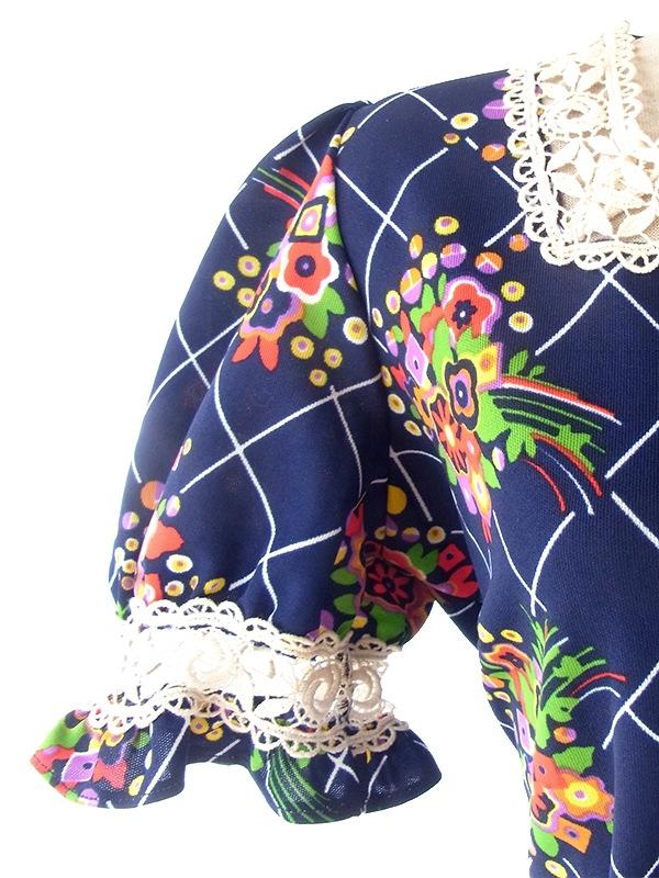 ヨーロッパ古着 フランス買い付け 60年代製 ネイビー X 花柄 カットレース 共布ベルト付き パフスリーブ ワンピース 20FC207