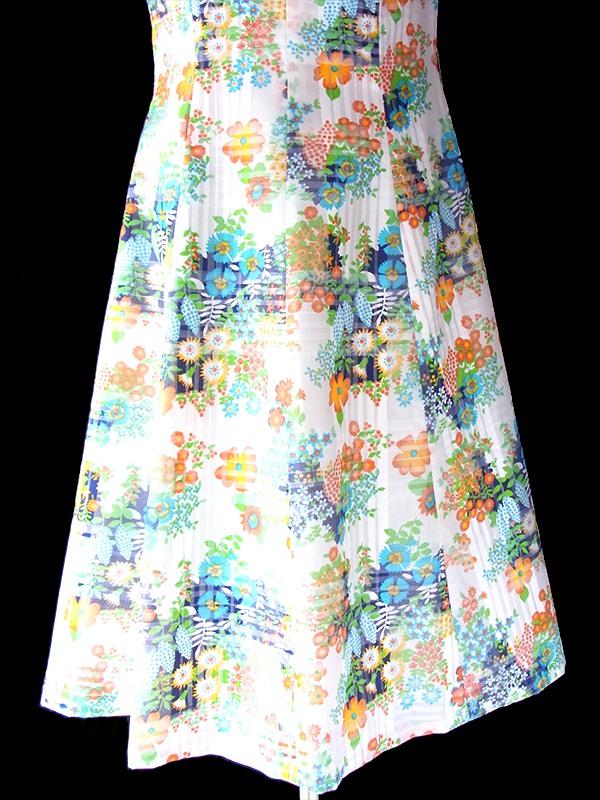 ヨーロッパ古着 フランス買い付け 60年代製 ホワイト X チェック柄・カラフル花柄 薔薇飾り ヴィンテージ ワンピース 20FC208