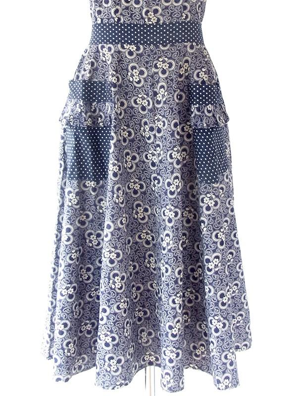 ヨーロッパ古着 フランス買い付け 60年代製 ネイビー X ホワイト 花柄・水玉 ヴィンテージ ストラップ ワンピース 20FC224