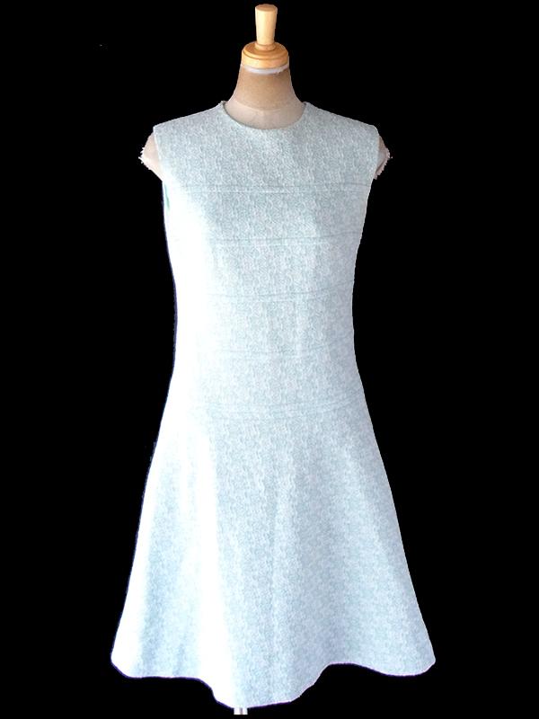 ヨーロッパ古着 フランス買い付け 60年代製 水色 X ホワイト・シルバーラメ糸 花柄 シームデザイン ワンピース 20FC304