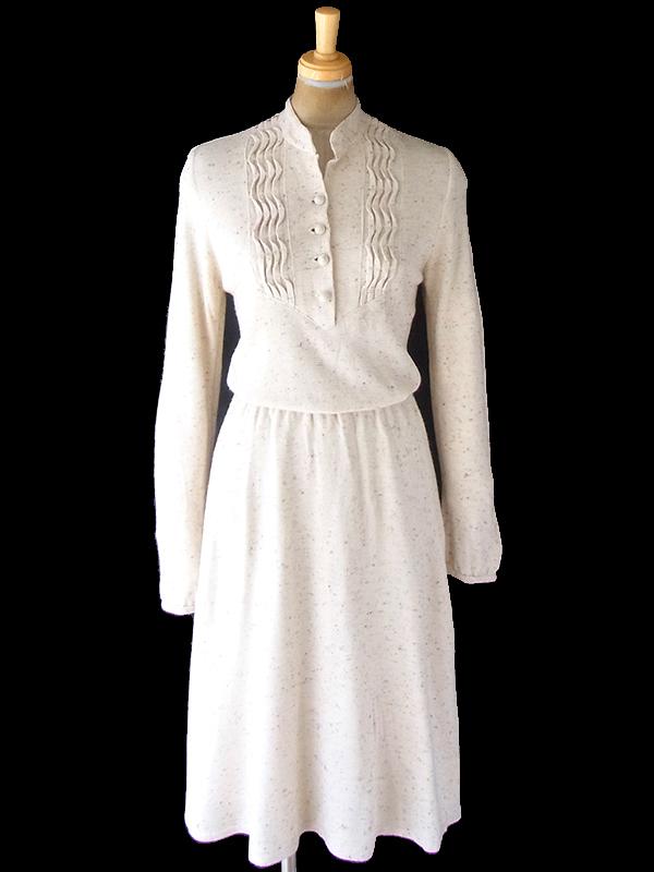 ヨーロッパ古着 フランス買い付け 70年代製 アイボリー X カラフル糸織り込み 共布ベルト付き ワンピース 20FC312