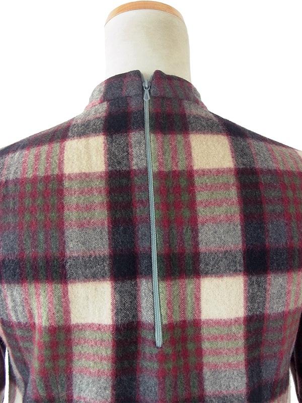 ヨーロッパ古着 フランス買い付け 60年代製 レッド・ベージュ・ネイビー X チェック柄 厚手ウール ワンピース 20FC320