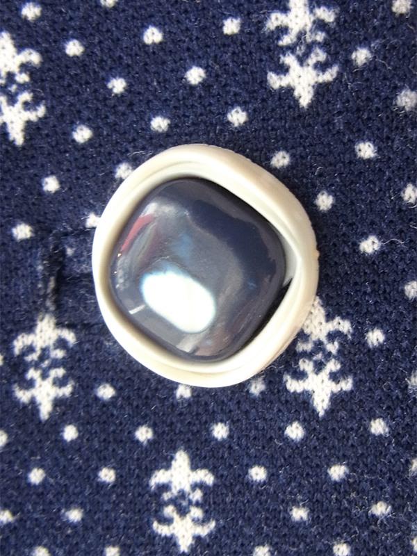 ヨーロッパ古着 フランス買い付け 70年代製 ネイビー X ホワイト 水玉 デザインボタン 共布ベルト付き ワンピース 20FC324