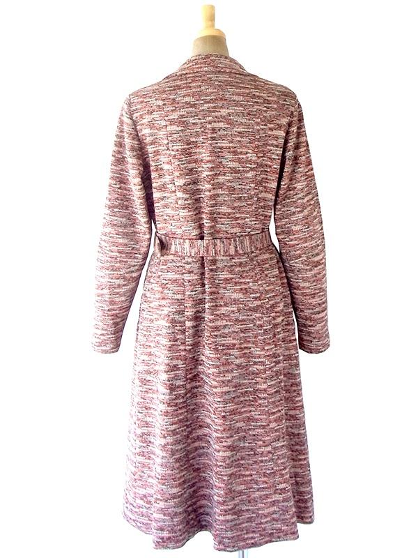 ヨーロッパ古着 60年代フランス製 オレンジ X ブラウン ジャガード織り 共布ベルト付き ヴィンテージ ワンピース 20FC327