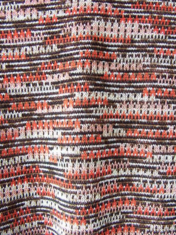 ヨーロッパ古着 60年代フランス製 オレンジ X ブラウン ジャガード織り 共布ベルト付き ヴィンテージ ワンピース 20FC329