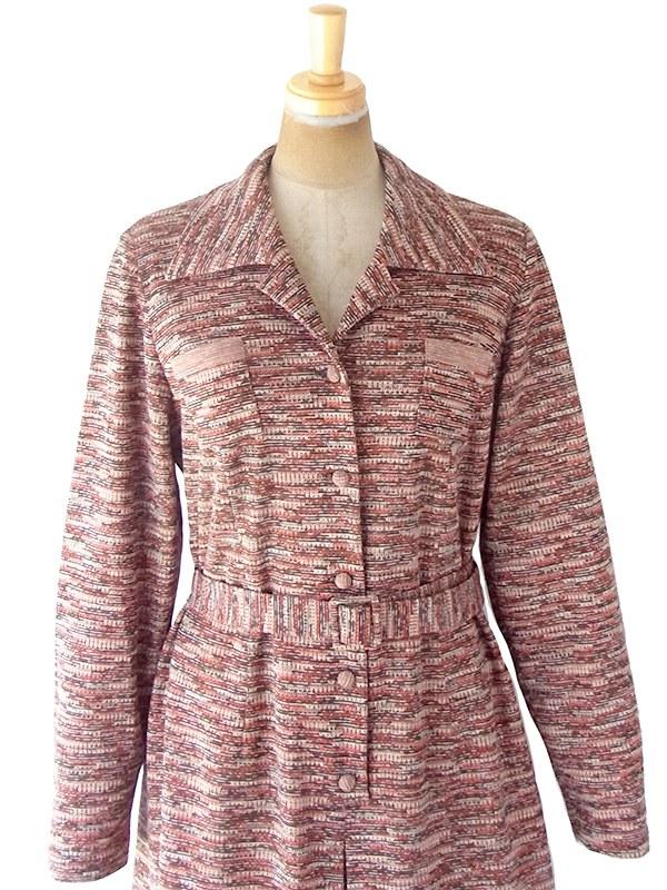 ヨーロッパ古着 60年代フランス製 オレンジ X ブラウン ジャガード織り 共布ベルト付き ヴィンテージ ワンピース 20FC330