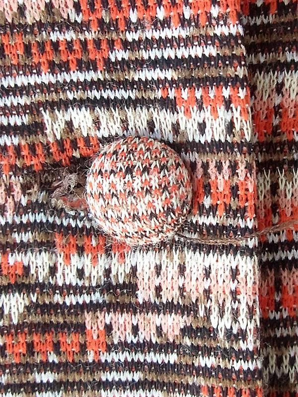 ヨーロッパ古着 60年代フランス製 オレンジ X ブラウン ジャガード織り 共布ベルト付き ヴィンテージ ワンピース 20FC331