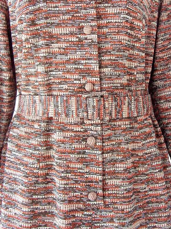 ヨーロッパ古着 60年代フランス製 オレンジ X ブラウン ジャガード織り 共布ベルト付き ヴィンテージ ワンピース 20FC332