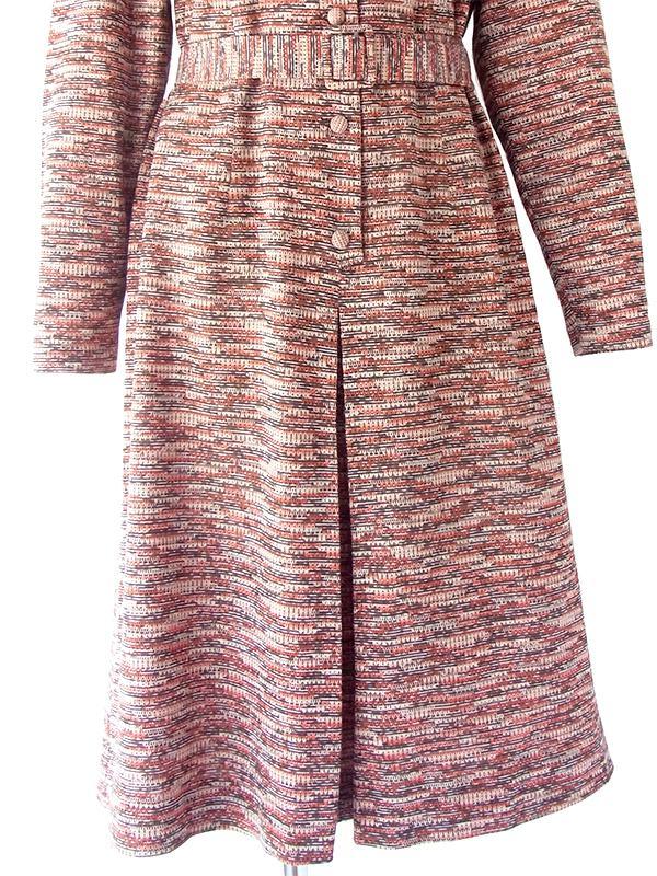 ヨーロッパ古着 60年代フランス製 オレンジ X ブラウン ジャガード織り 共布ベルト付き ヴィンテージ ワンピース 20FC333