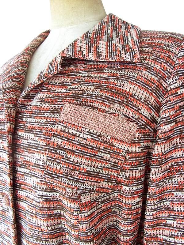 ヨーロッパ古着 60年代フランス製 オレンジ X ブラウン ジャガード織り 共布ベルト付き ヴィンテージ ワンピース 20FC336