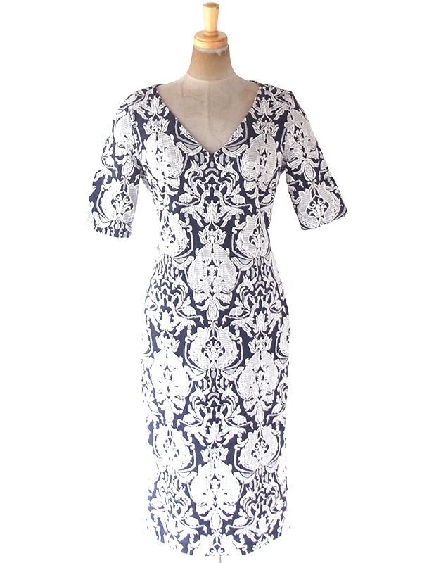 ヨーロッパ古着 フランス買い付け ネイビー X ホワイト オーナメント柄刺繍 ヴィンテージ ドレス 20FC333