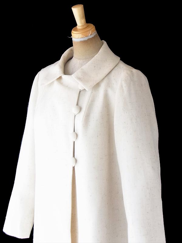 ヨーロッパ古着 フランス買い付け 60年代製 アイボリー X 帆布生地 くるみボタン ヴィンテージ コート 20FC400