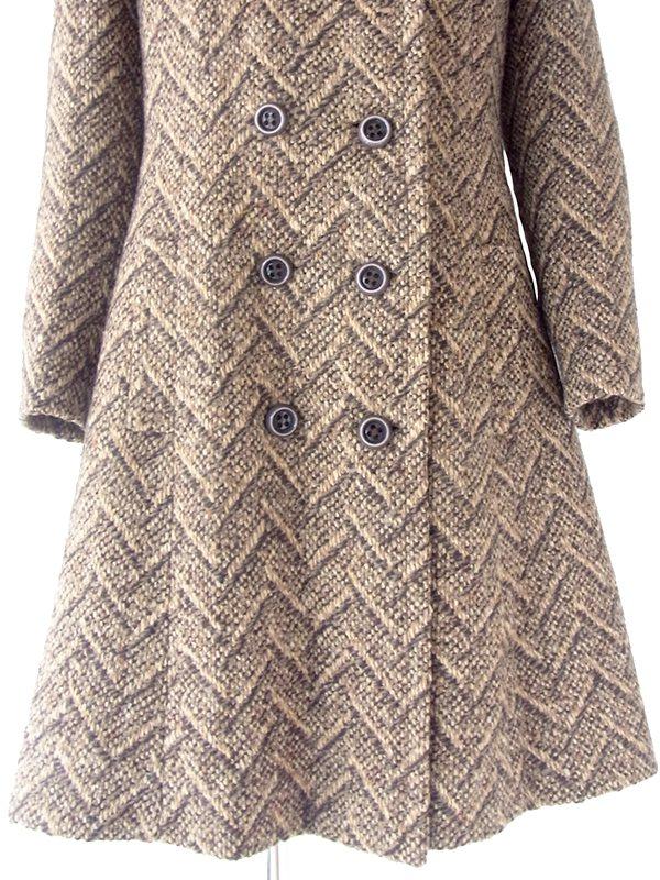 ヨーロッパ古着 60年代フランス製 ブラウン X ヘンリボーン 厚手ウールツイード コート 20FC404