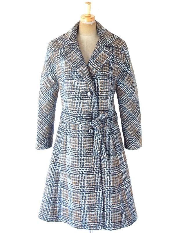 ヨーロッパ古着 フランス買い付け 60年代製 ブルー X ブラウン チェック柄 厚手ウール ツイード コート 20FC403