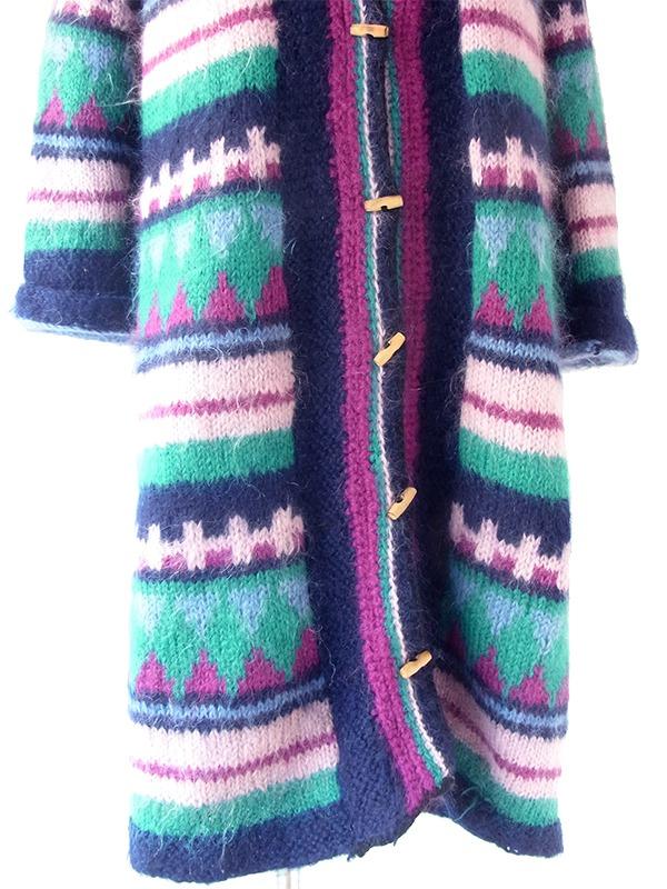 ヨーロッパ古着 フランス買い付け ネイビー X ピンク・パープル・グリーン レトロ柄 モヘア ニット コート 20FC501
